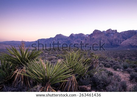 The rich colors of the desert southwest near Las Vegas, Nevada. The mountains in the distance near Red Rock Canyon Conservation Area. - stock photo