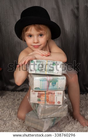 the rich girl and is a lot of Russian money  - stock photo
