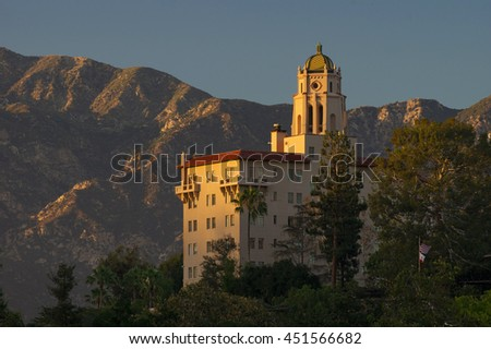 The Richard H. Chambers Courthouse in Pasadena, California, USA. It is an historic building originally constructed as a Spanish Colonial Revival style resort (Vista del Arroyo Hotel and Bungalows). - stock photo