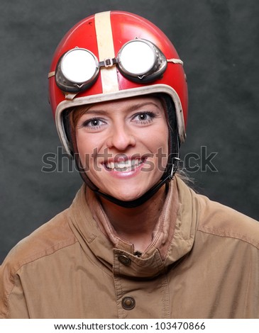 The rider in retro motorcycle helmet. - stock photo