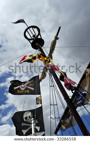The rigging of a fake pirate ship on Chesapeake Bay, Inner Harbor, Baltimore, MD - stock photo