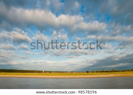The right coast of the river Irtysh. Russia, Western Siberia - stock photo