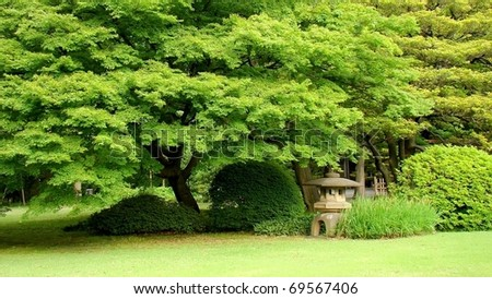 The Rikugien, beautiful Japanese garden in central Tokyo, Japan. The name Rikugi comes from the idea of the six elements in waka poetry. - stock photo