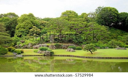 The Rikugien, beautiful Japanese garden in Tokyo, Japan - stock photo