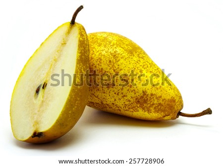 The ripe pears isolated on the white - stock photo