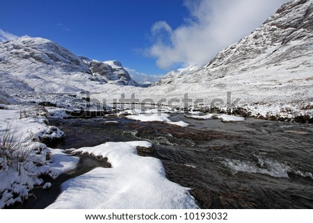 The River Etive running through a snowy Glencoe glen