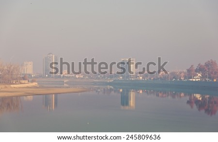 The river Kuban in the Krasnodar city, Russia - stock photo