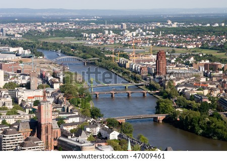 The river Main in Frankfurt from above, Germany. - stock photo