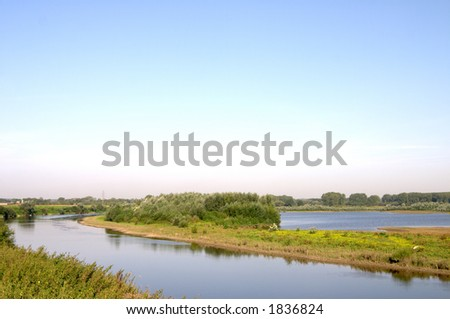 The river Meuse between Belgium and Holland - stock photo