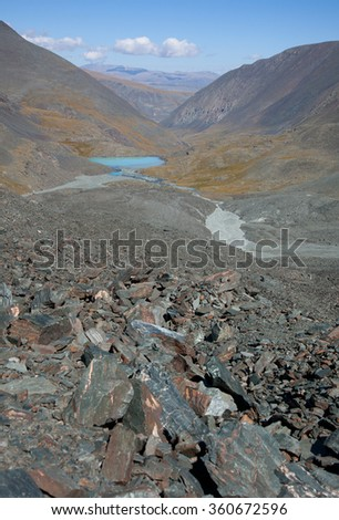 The river originates at the top of the mountain Irbistu - stock photo