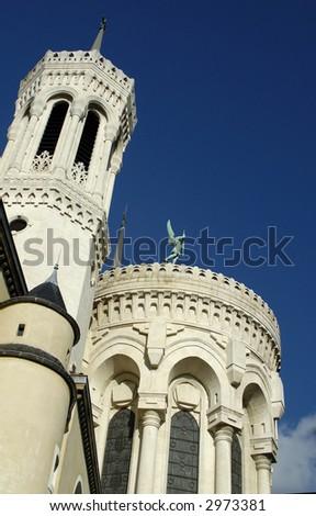 the river-side part of Basilique de Fourviere. Lyon. France. - stock photo