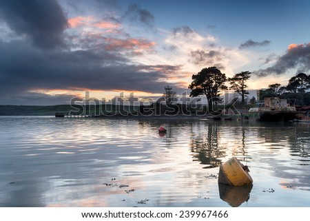 The River Tamar at St John's Lake at Torpoint in Cornwall - stock photo