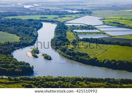 The river, top view. Krasnodar region, Russia - stock photo