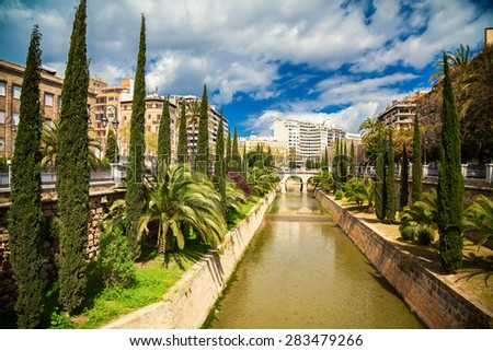 the river Torrent de sa Riera in Palma de Mallorca, Spain - stock photo