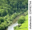 the river wye view from symonds yat - stock photo