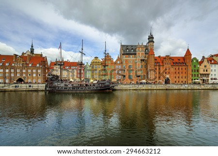 The riverside with the characteristic promenade of Gdansk, Poland.- panorama