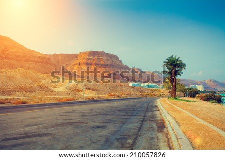 The road at sunrise in Ein Bokek city, Israel. - stock photo