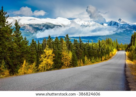The road goes into the distance. Canadian Rockies. Beautiful September day. Great Highway is among the mountains and forests yellowed - stock photo