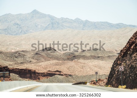 The road in Nevada state while heading to Grand Canyon. - stock photo