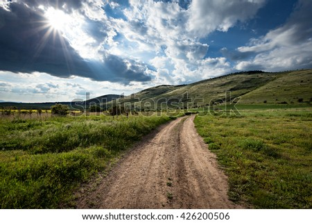 the road in rural areas.  - stock photo