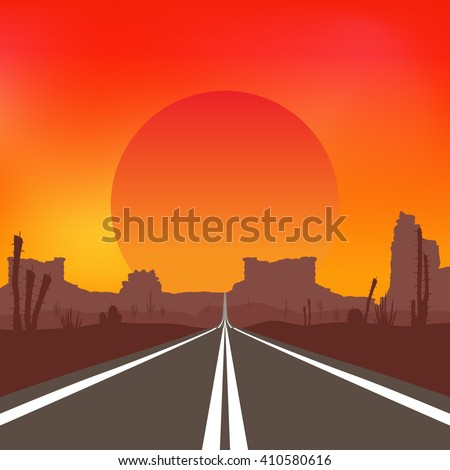 The road in the desert at sunset. Raster illustration.