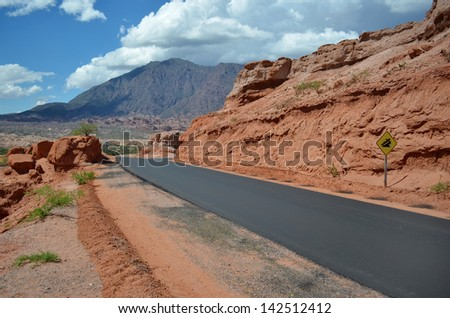 The road in the red desert - stock photo