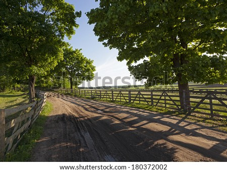 the road on a farm  - stock photo