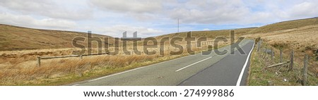 The road to Holme Moss Pass, Peak District, Derbyshire, England. - stock photo