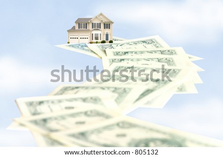 The road to homeownership can be a long, costly one; the sky high prices of today's real estate. - stock photo