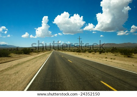 The road to the desert - stock photo