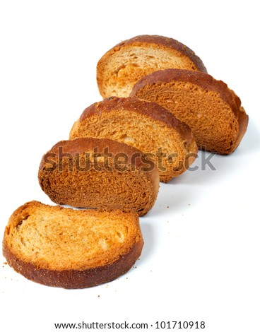 The roasted grain crackers on a white background