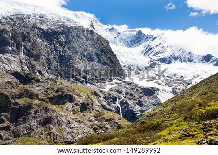 The Rob Roy Glacier on the South Island of New Zealand on a fantastic summer day. - stock photo