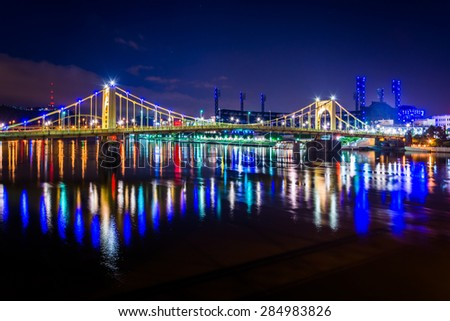 The Roberto Clemente Bridge at night, in Pittsburgh, Pennsylvania. - stock photo