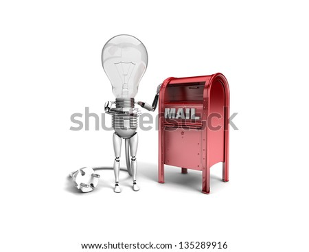 """The robot """"bulb"""" leans on mail box and show """"ok"""" isolated on a white background - stock photo"""
