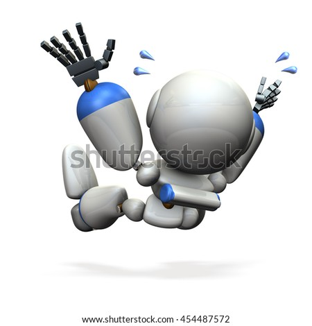 The robot, fell in a hurry. 3D illustration - stock photo