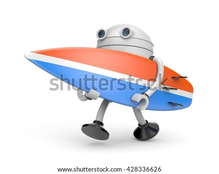 The robot hurries to surf. 3d illustration - stock photo