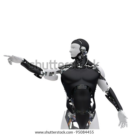 The robot pushes a virtual button - stock photo