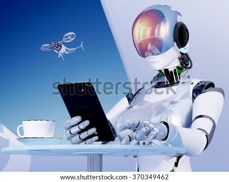 The  robot with tablet in hand. - stock photo