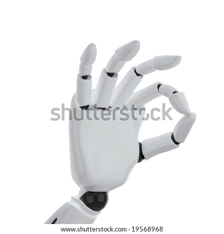 "The robotic hand giving the ""okay"" sign"