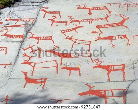 The rock art in Alta, Norway, UNESCO World Heritage Site - stock photo