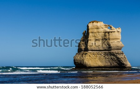 The rock of a beach on the great ocean road in Victoria Australia