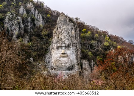 The rock sculpture of Decebalus located near the city of Orsova