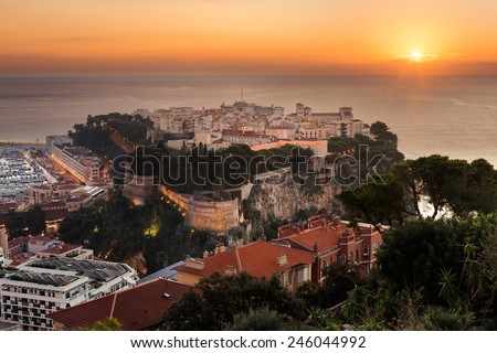 the rock symbol the city of principaute of monaco and monte carlo in the south of France - stock photo
