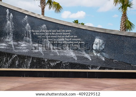 The Rocket Garden at Kennedy Space Center NASA. President Kennedy quote outside, historical rockets from past explorations for every USA human space flight since 1968 - stock photo