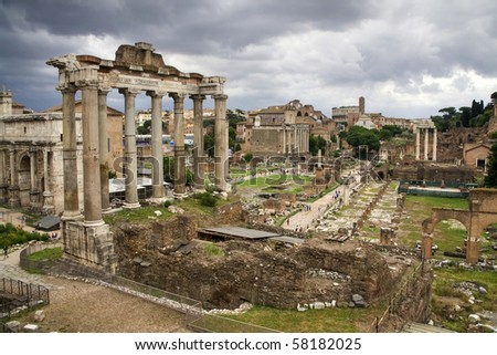 The roman forum in rome - stock photo