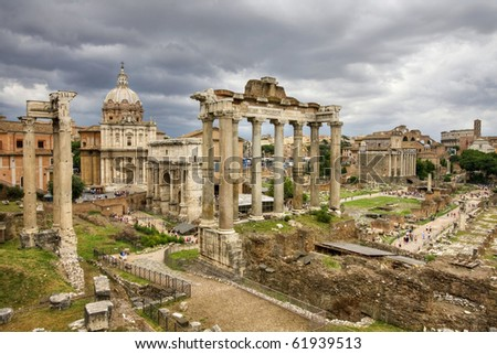 The roman forum in rome - stock photo
