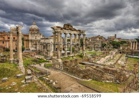 The roman forum in rome. HDR image. - stock photo