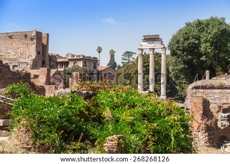 The Roman Forum is a rectangular forum (plaza) surrounded by the ruins of several important ancient government buildings at the center of the city of Rome
