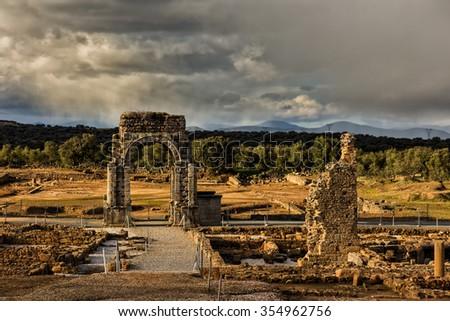 The Roman ruins of Caparra are located in the pasture Casablanca, among the terms of Oliva de Plasencia and Guijo de Granadilla. Extremadura. Spain. - stock photo