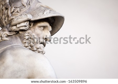 The Roman sculpture of Menelaus supporting the body of Patroclus - stock photo